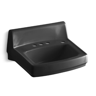Greenwich Ceramic 21 Wall Mount Bathroom Sink with Overflow Finish: Black Black