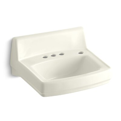 Greenwich Ceramic 21 Wall Mount Bathroom Sink with Overflow Finish: Biscuit