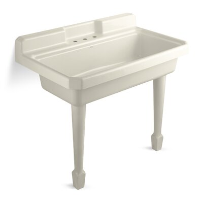 Harborview 48 x 28 Single Top-Mount or Wall-Mount Utility Sink Finish: Almond, Number of Faucet Holes: 2