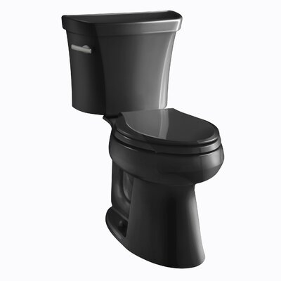 Highline Comfort Height Two-Piece Elongated 1.28 GPF Toilet with Class Five Flush Technology, Left-Hand Trip Lever and Tank Cover Locks Finish: Black Black