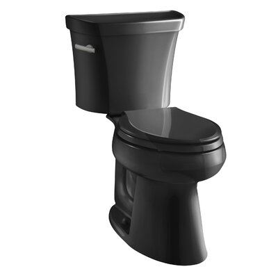 Highline Comfort Height Two-Piece Elongated 1.28 GPF Toilet with Class Five Flush Technology, Left-Hand Trip Lever and Insuliner Tank Liner Finish: Black Black