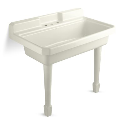 Harborview 48 x 28 Single Top-Mount or Wall-Mount Utility Sink Finish: Biscuit, Number of Faucet Holes: 2