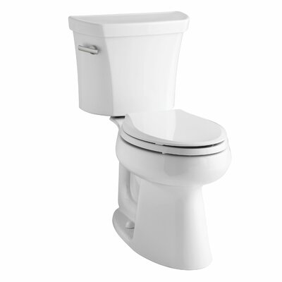 Highline Comfort Height Two-Piece Elongated 1.28 GPF Toilet with Class Five Flush Technology, Left-Hand Trip Lever, Insuliner Tank Liner and Tank Cover Locks Finish: Biscuit