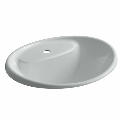 Tides Metal Oval Drop-In Bathroom Sink with Overflow Finish: Ice Grey, Faucet Hole Style: 4 Centerset