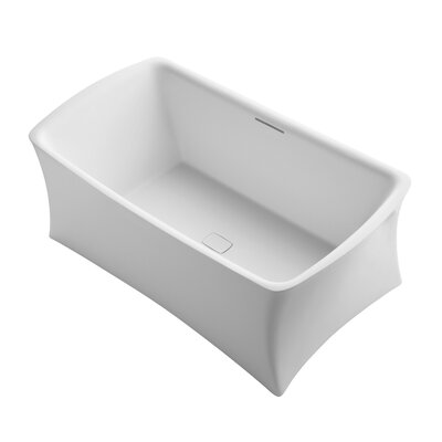 Aliento Meadow Freestanding Bath with Center Toe-Tap Drain