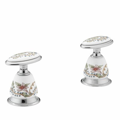 English Trellis Design On Antiqueceramic Handle Insets and Skirts for Bath Faucets