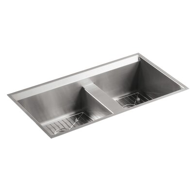 8 Degree 33 x 18 x 10-3/16 Under-Mount Large/Medium Double-Bowl Kitchen Sink