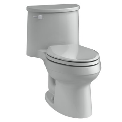 Adair One-Piece Elongated 1.28 GPF Toilet with Aquapiston Flush Technology and Left-Hand Trip Lever Finish: Ice Grey