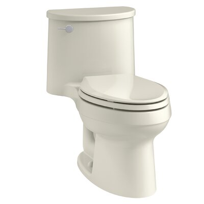 Adair One-Piece Elongated 1.28 GPF Toilet with Aquapiston Flush Technology and Left-Hand Trip Lever Finish: Biscuit