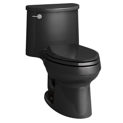 Adair One-Piece Elongated 1.28 GPF Toilet with Aquapiston Flush Technology and Left-Hand Trip Lever Finish: Black Black