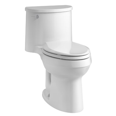 Adair Comfort Height One-Piece Elongated 1.28 GPF Toilet with Aquapiston Flushing Technology and Left-Hand Trip Lever Finish: White