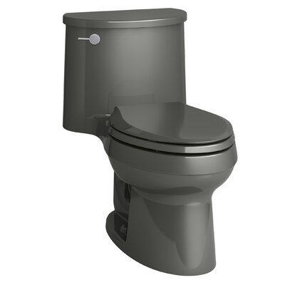Adair One-Piece Elongated 1.28 GPF Toilet with Aquapiston Flush Technology and Left-Hand Trip Lever Finish: Thunder Grey