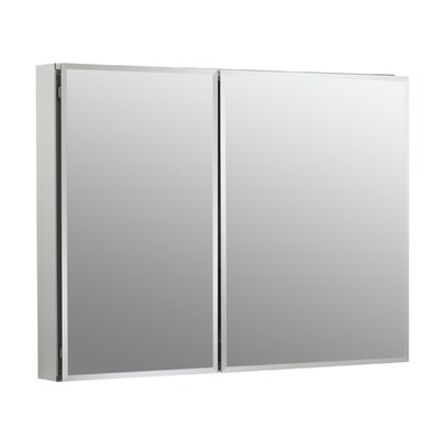 35 W x 26 H Aluminum Two-Door Medicine Cabinet with Mirrored Doors, Beveled Edges