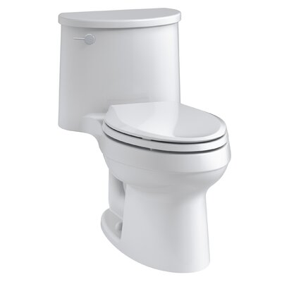 Adair One-Piece Elongated 1.28 GPF Toilet with Aquapiston Flush Technology and Left-Hand Trip Lever Finish: White