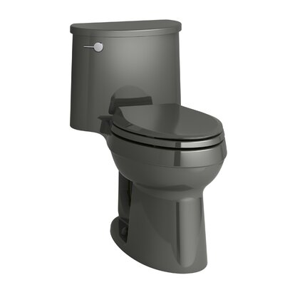 Adair Comfort Height One-Piece Elongated 1.28 GPF Toilet with Aquapiston Flushing Technology and Left-Hand Trip Lever Finish: Thunder Grey