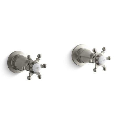 Antique Wall-Mount Valve Trim with Six-Prong Handles Finish: Vibrant Brushed Nickel