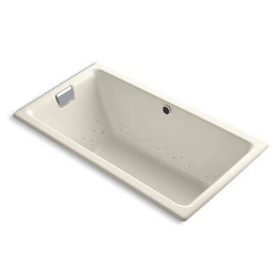 Tea-For-Two Bubblemassage 66 x 36 Soaking Bathtub Finish: Biscuit, Jet Finish: Polished Nickel