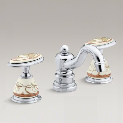 Briar Rose Design On Antique Ceramic Handle Insets and Skirts for Bathroom Sink Faucets