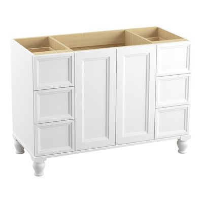Damask� 48 Vanity with Furniture Legs, 2 Doors and 6 Drawers, Split Top Drawers Finish: Linen White