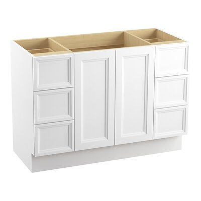 Damask Plains 48 Vanity with Toe Kick, 2 Doors and 6 Drawers, Split Top Drawers Finish: Linen White