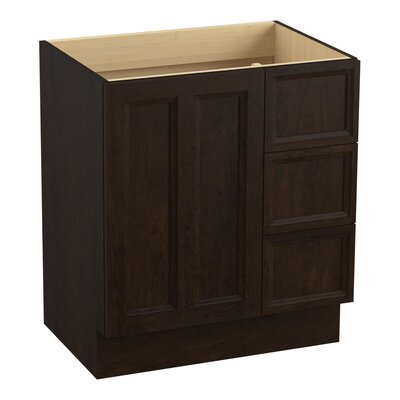 Damask� 30 Vanity with Toe Kick, 1 Door and 3 Drawers on Right Finish: Claret Suede