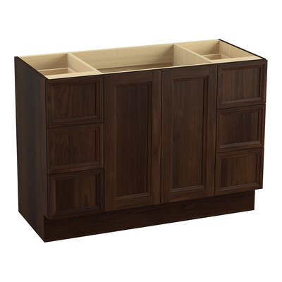 Damask Plains 48 Vanity with Toe Kick, 2 Doors and 6 Drawers, Split Top Drawers Finish: Ramie Walnut