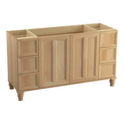 Damask� 60 Vanity with Furniture Legs, 2 Doors and 6 Drawers, Split Top Drawers Finish: Khaki White Oak