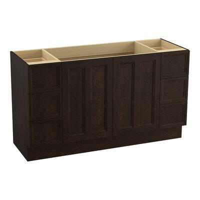 Damask� 60 Vanity with Toe Kick, 2 Doors and 6 Drawers, Split Top Drawers Finish: Claret Suede