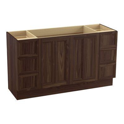 Damask� 60 Vanity with Toe Kick, 2 Doors and 6 Drawers, Split Top Drawers Finish: Terry Walnut