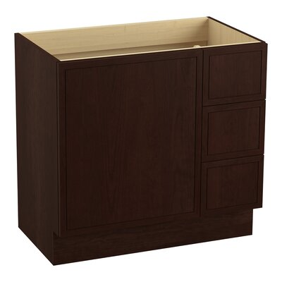 "Jacquard 36"" Vanity Base with Toe Kick, 1 Door and 3 Drawers On Right Finish: Cherry Tweed"