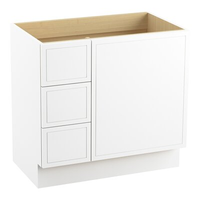 Jacquard� 36 Vanity with Toe Kick, 1 Door and 3 Drawers on Left Finish: Linen White