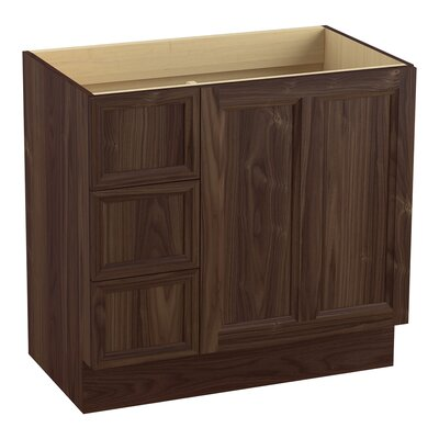 Damask 36 Vanity with Toe Kick, 1 Door and 3 Drawers on Left Finish: Terry Walnut