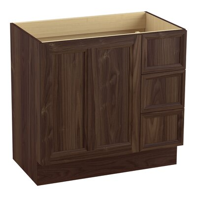 Damask� 36 Vanity with Toe Kick, 1 Door and 3 Drawers on Right Finish: Terry Walnut