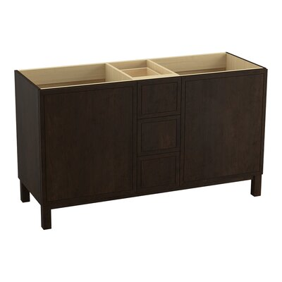 Jacquard 60 Vanity Base with Furniture Legs, 2 Doors and 3 Drawers Finish: Claret Suede
