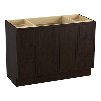Jacquard 48 Vanity with Toe Kick, 2 Doors and 6 Drawers, Split Top Drawers Finish: Claret Suede