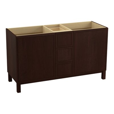 Jacquard� 60 Vanity with Furniture Legs, 2 Doors and 3 Drawers, Split Top Drawer Finish: Cherry Tweed