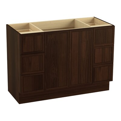 Jacquard 48 Vanity with Toe Kick, 2 Doors and 6 Drawers, Split Top Drawers Finish: Ramie Walnut