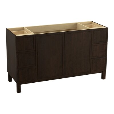 Jacquard 60 Vanity with Furniture Legs, 2 Doors and 6 Drawers, Split Top Drawers Finish: Claret Suede