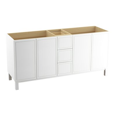Jacquard� 72 Vanity with Furniture Legs, 4 Doors and 3 Drawers, Split Top Drawer Finish: Linen White