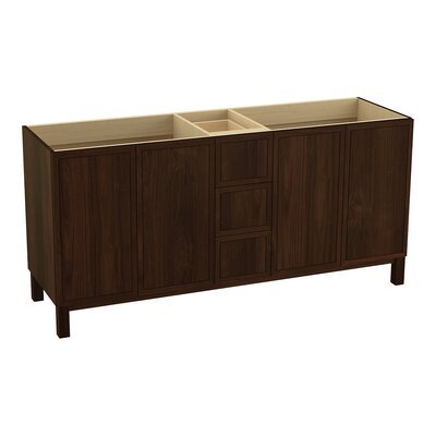 Jacquard 72 Vanity with Furniture Legs, 4 Doors and 3 Drawers Finish: Ramie Walnut