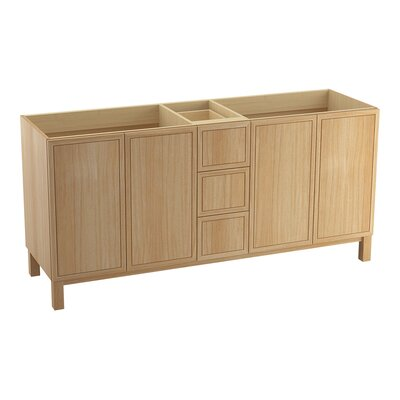 Jacquard 72 Vanity with Furniture Legs, 4 Doors and 3 Drawers Finish: Khaki White Oak