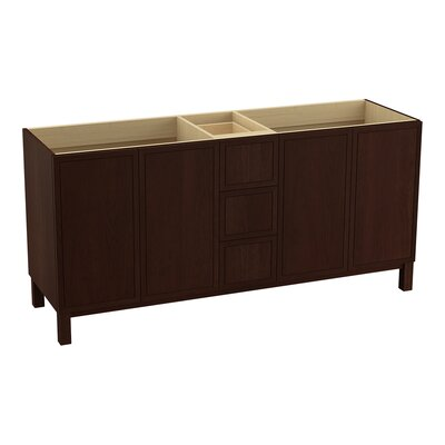 "Jacquard 72"" Vanity with Furniture Legs, 4 Doors and 3 Drawers Base Finish: Cherry Tweed"
