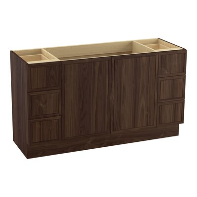 Jacquard� 60 Vanity with Toe Kick, 2 Doors and 6 Drawers, Split Top Drawers Finish: Terry Walnut