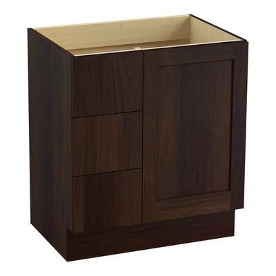 Poplin 30 Vanity with Toe Kick, 1 Door and 3 Drawers on Left Finish: Ramie Walnut
