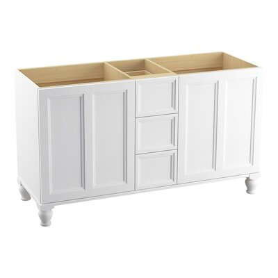 "Damask 60"" Vanity with Furniture Legs, 2 Doors and 3 Drawers Finish: Linen White"