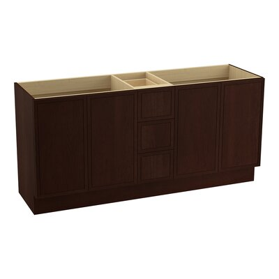 Jacquard 72 Vanity with Toe Kick, 4 Doors and 3 Drawers, Split Top Drawer Finish: Cherry Tweed