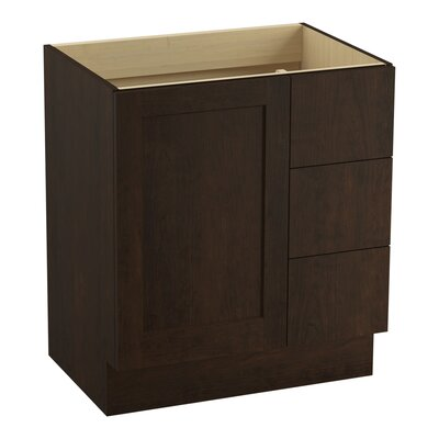 Poplin 30 Vanity with Toe Kick, 1 Door and 3 Drawers on Right Finish: Claret Suede