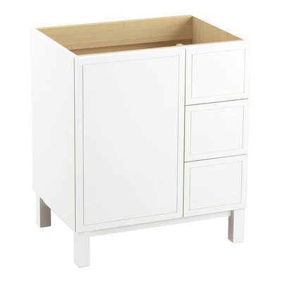 Jacquard� 30 Vanity with Furniture Legs, 1 Door and 3 Drawers on Right Finish: Linen White