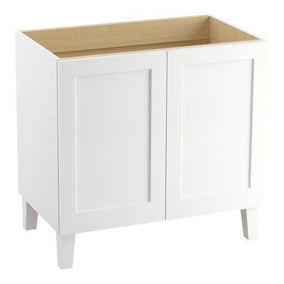 "Poplin 36"" Vanity Base with Furniture Legs and 2 Doors Finish: Linen White"