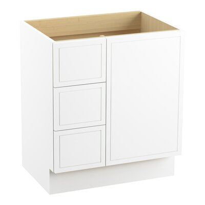 Jacquard� 30 Vanity with Toe Kick, 1 Door and 3 Drawers on Left Finish: Linen White